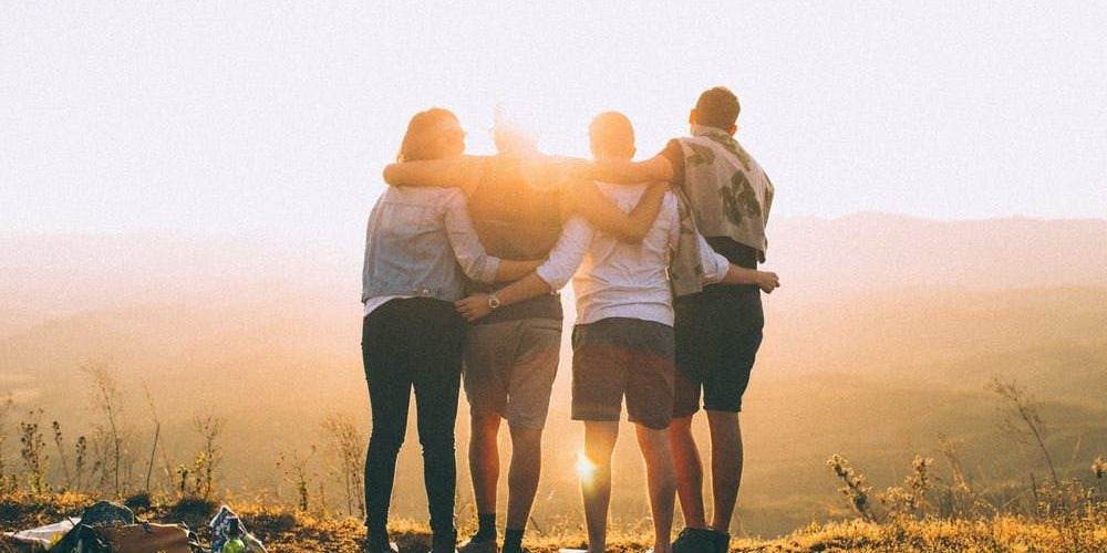 sunset, group of people